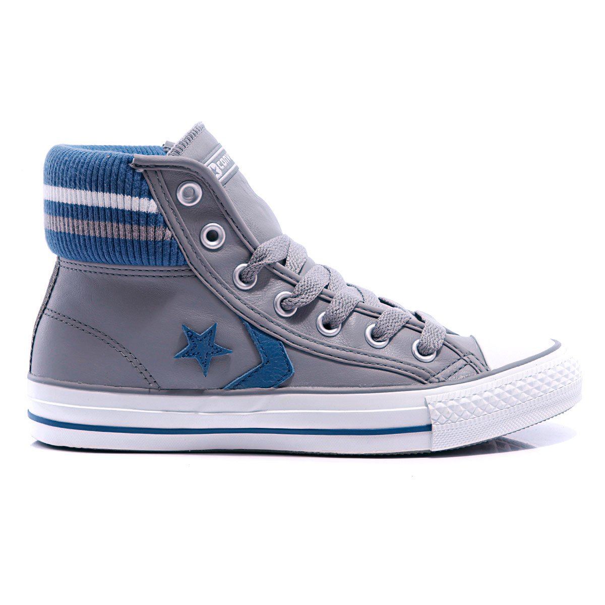 a55d35f3fb65 ... hot converse star player cuff rib unisex leather mid phaeton grey white  blue abfff 99055