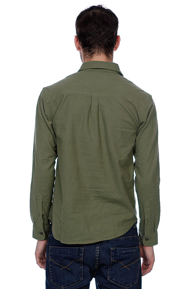 Рубашка Huf Solid Flannel Work Shirt Olive