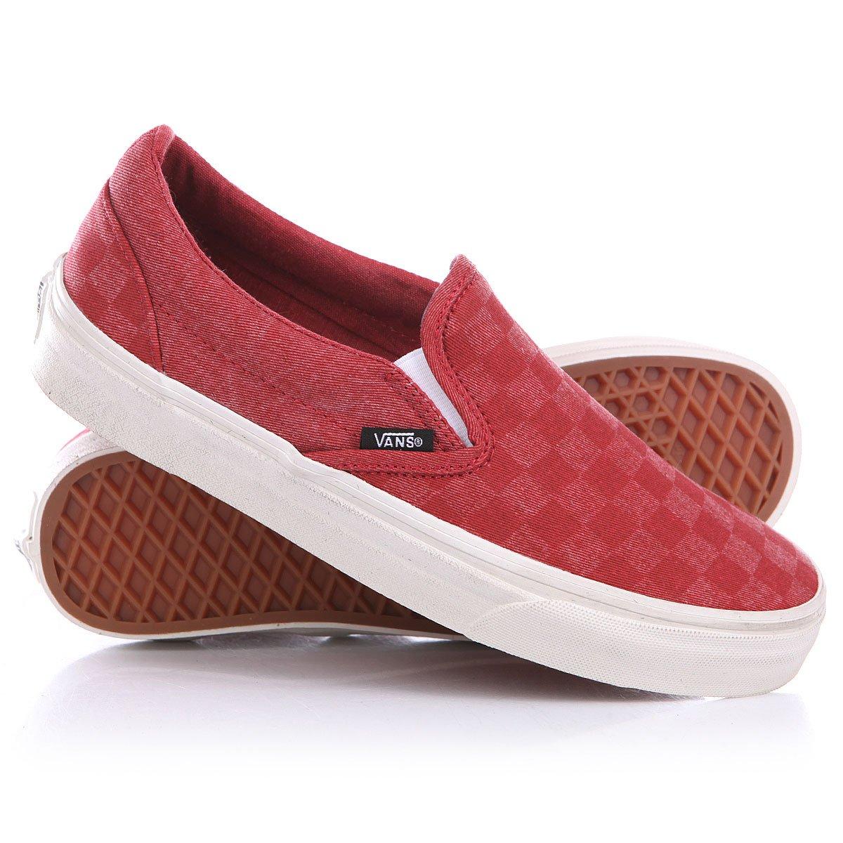 Купить слипоны Vans Classic Slip On Tango Red Checker в интернет ... 80ea5c5bc4a45