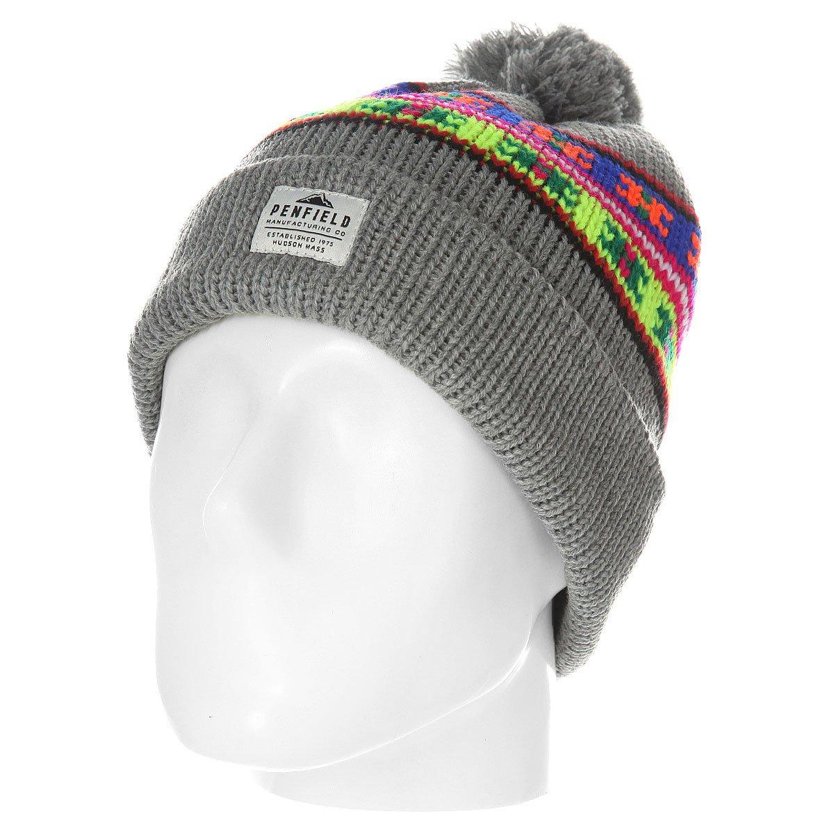 51f910ccb7f Купить шапку Penfield Acc Himal Neon Pattern Bobble Beanie Grey в ...
