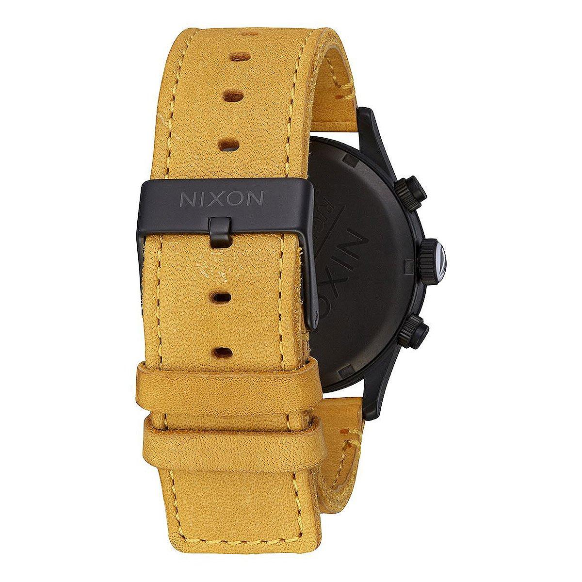 Кварцевые часы Nixon Sentry Chrono Leather Black/Goldenrod