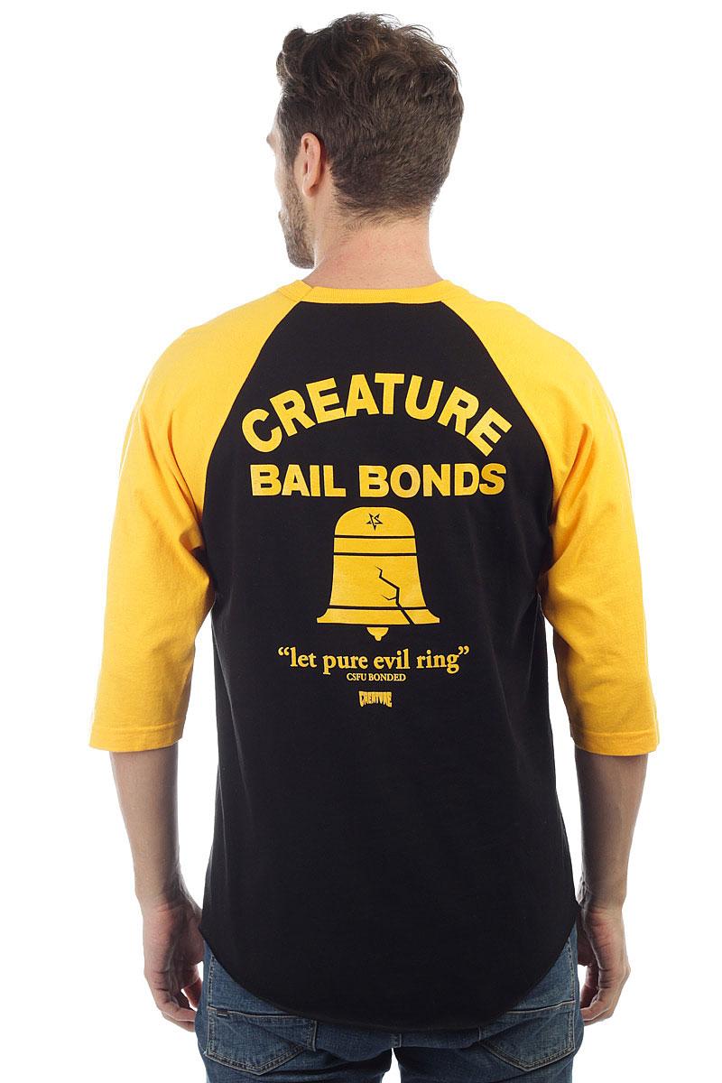 Лонгслив Creature 3/4 Creature Bad News Raglan Black/Gold