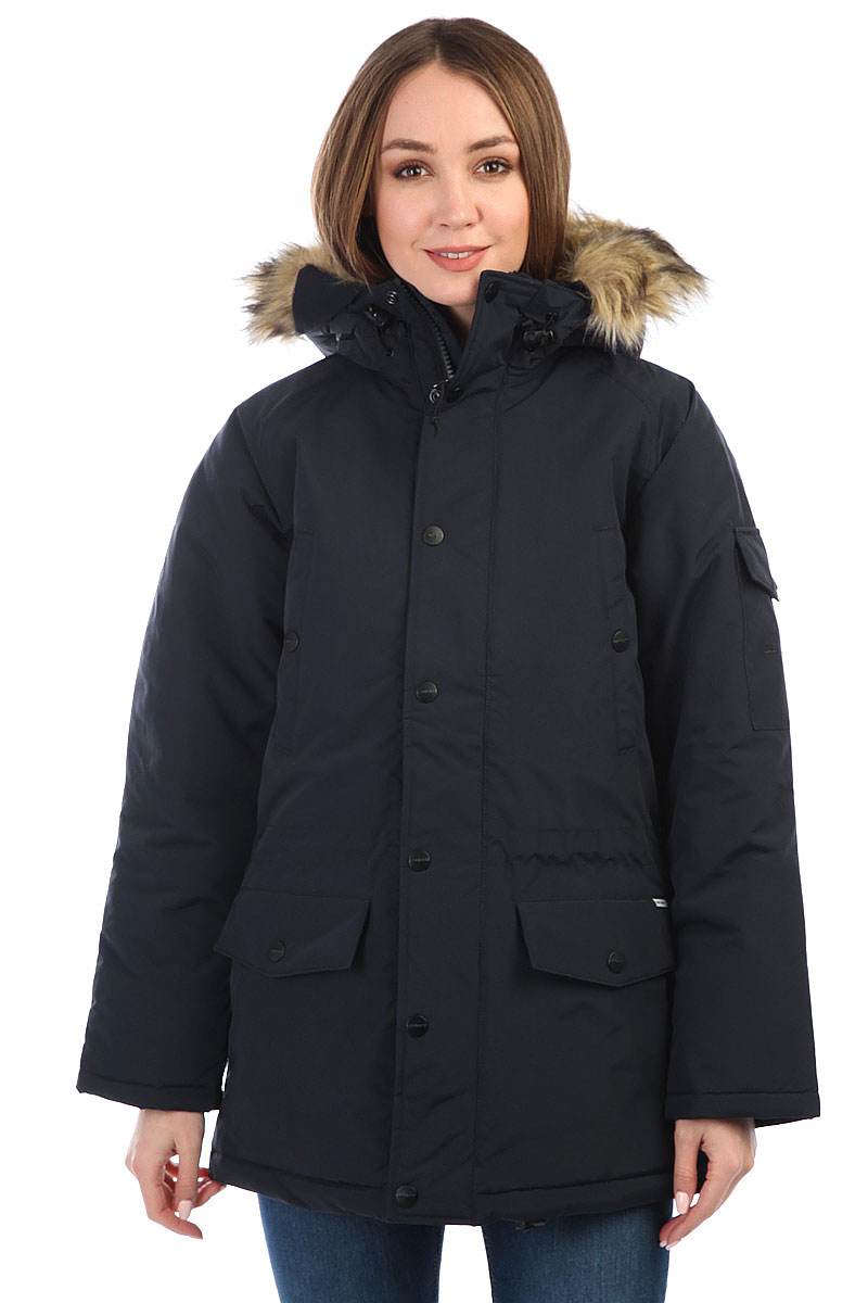 c9d48375a000 Купить куртку парка женский Carhartt WIP Anchorage Parka Dark Navy Black в  интернет-магазине Proskater.ru