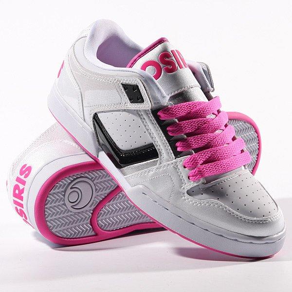 Кеды кроссовки женские Osiris Nyc 83 Low White/Pink/Black