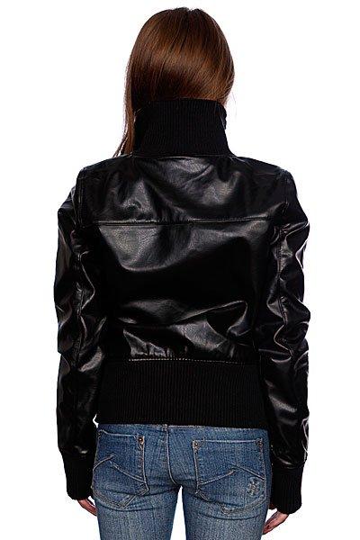 Куртка кожаная женская Zoo York Washed Leather Bomber Black