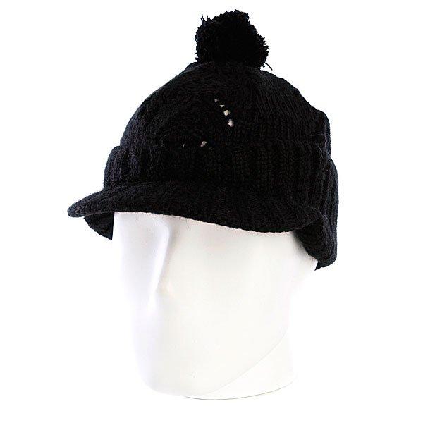 Шапка с помпоном женская Zoo York Lace Knit Cable Hat Black