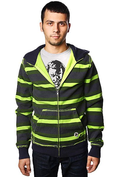 Толстовка Fallen Multi Stripe Cobra Hood Lime/Army/Navy