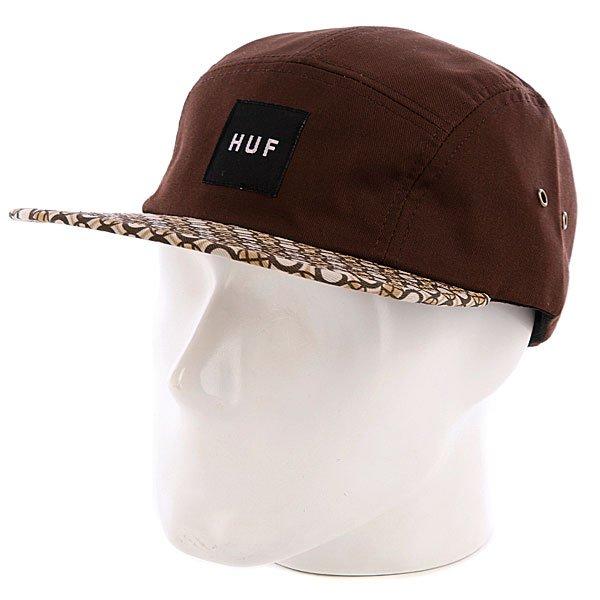 Бейсболка пятипанелька Huf Retro Volley Brown