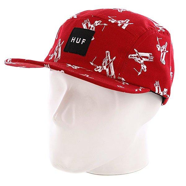 Бейсболка пятипанелька Huf Joyride Volley Red