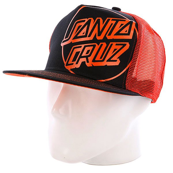 Бейсболка с сеткой Santa Cruz Opus Trucker Black/Orange
