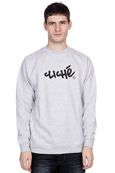 Толстовка Cliche Handwritten Classic Crew Athletic Heather/Black