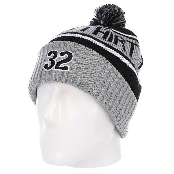 Шапка с помпоном Thirty Two Peeping Pom Beanie Black/Grey