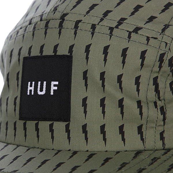 Бейсболка пятипанелька Huf Thunder Bolt Box Volley Olive/Black