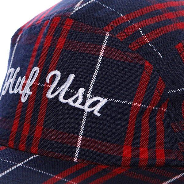 Бейсболка пятипанелька Huf Usa Plaid Moon Cap Black/White/Red