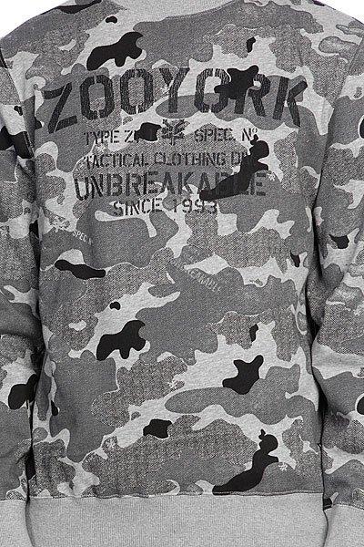 Толстовка классическая Zoo York Stencil Kit Crew Washed Black Camo