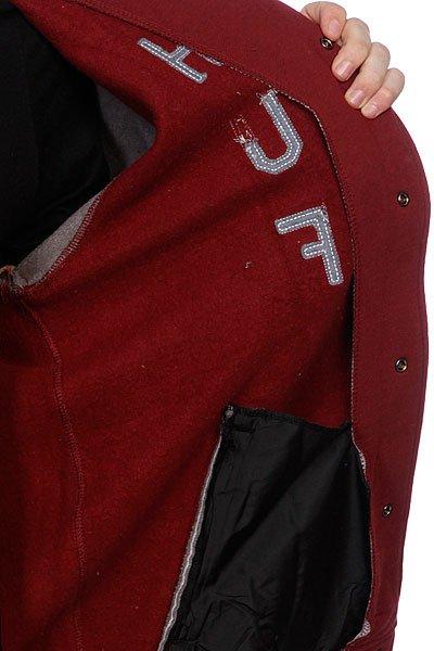 Куртка бомбер Huf Campus Snap Front Premium Hoodie Burgundy/Gray