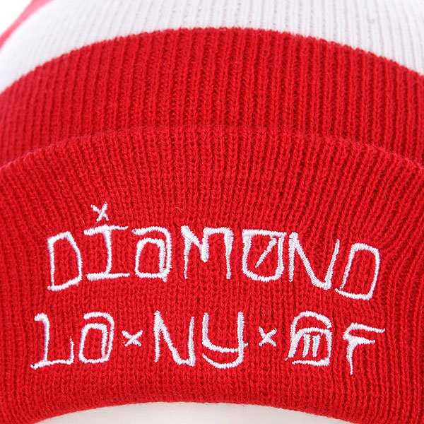 Шапка носок Diamond Cities Fold Beanie Red/White