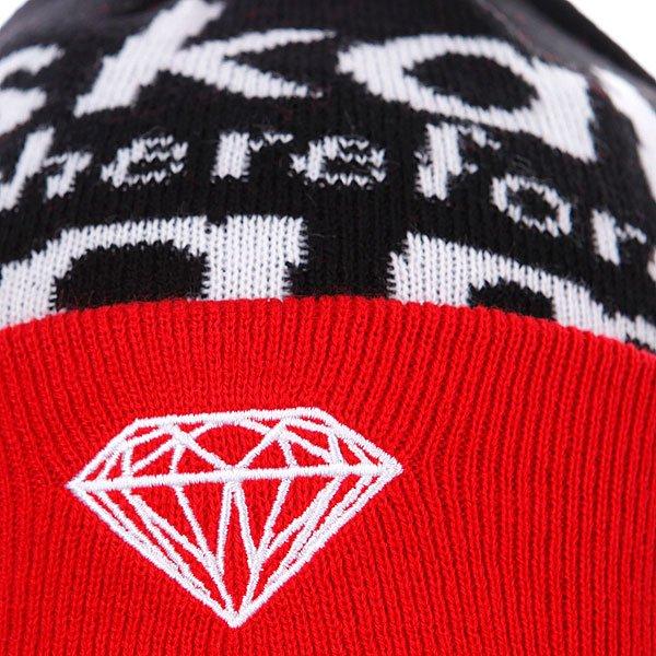 Шапка с помпоном Diamond I Am Fold Beanie Red/Black