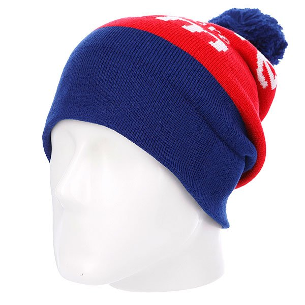 Шапка с помпоном Diamond I Am Fold Beanie Blue/Red