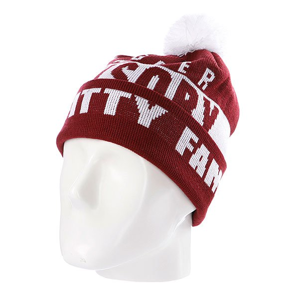 Шапка с помпоном Flat Fitty Swagger Fam Maroon/White