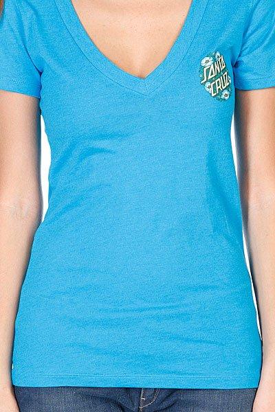 Футболка женская Santa Cruz Poppy Dot V-neck Turquoise