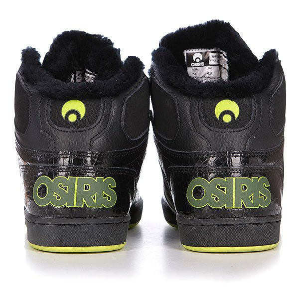Кеды утепленные Osiris Bronx Blk/Green/Shearling