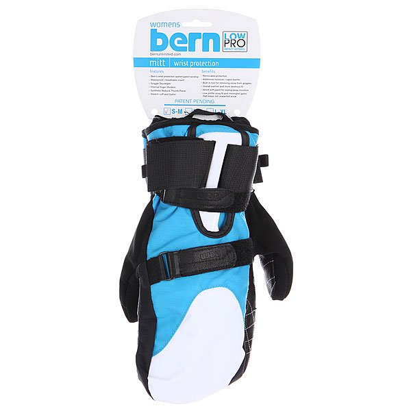 Варежки сноубордические женские Bern Womens Synthetic Mittens Removeable Wrist Guard Cyan/White