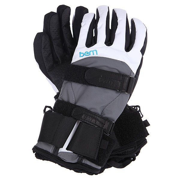 Перчатки сноубордические женские Bern Womens Synthetic Gloves Removeable Wrist Guard White/Grey