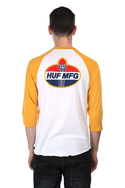 Лонгслив Huf Hector Raglan White / Mustard