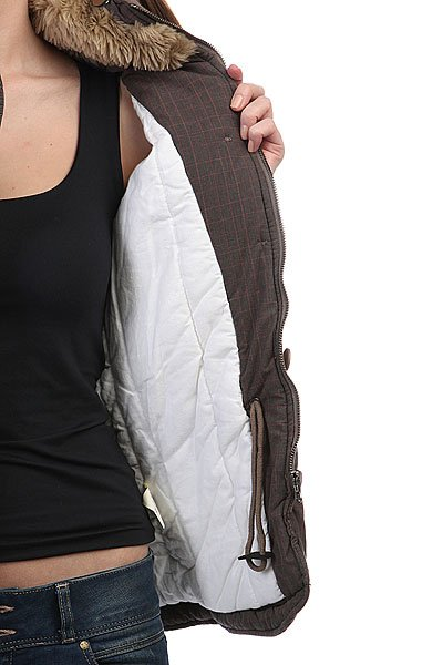 Куртка зимняя женская Dickies Beaver Check Timber Brown