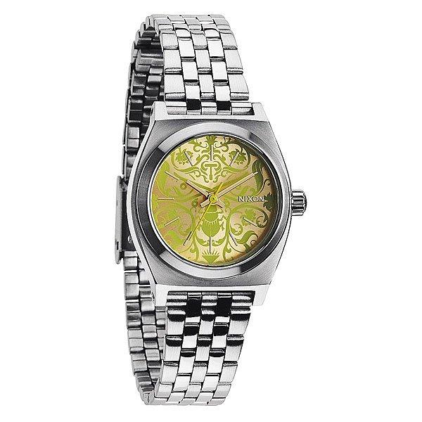 Часы женские Nixon Small Time Teller Silver/Neon Yellow/Beetlepoint