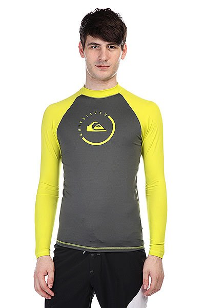 Гидрофутболка Quiksilver Lockupls Grey/Yellow