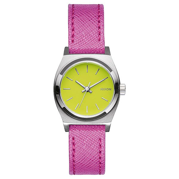 Часы женские Nixon Small Time Teller Leather Neon Yellow/Hot Pink