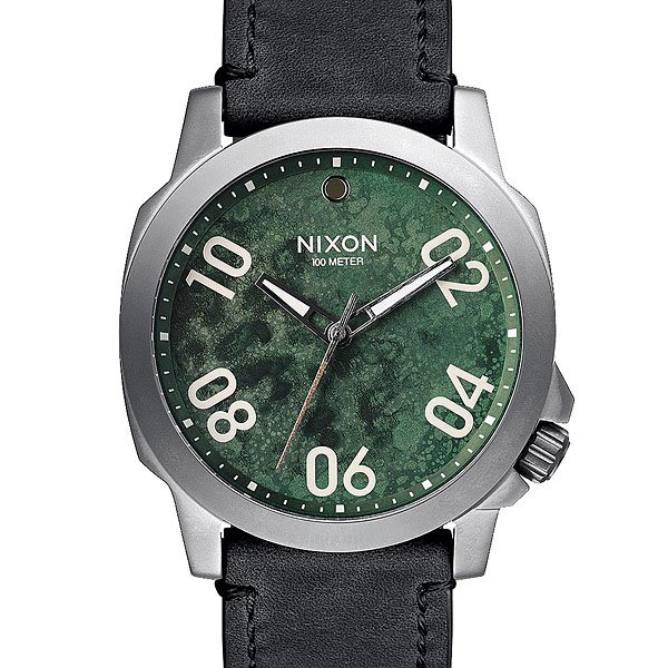 Часы Nixon Ranger 45 Leather Gunmetal/Green Oxyde