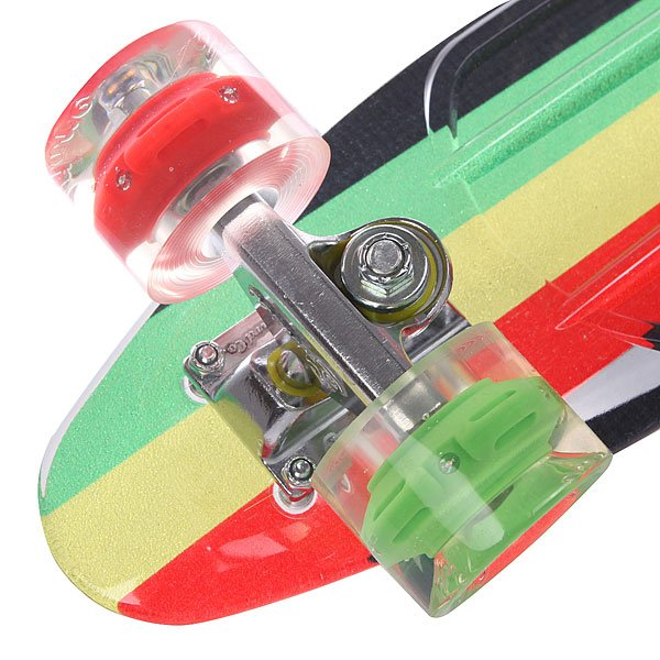 Скейт мини круизер Sunset Rasta Grip Complete Rasta Stripe Deck R/Y/G Red/Green Wheels 6 x 22 (56 см)