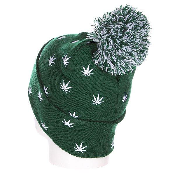 Шапка с помпоном TrueSpin Weedy Pom Beanie Green/White
