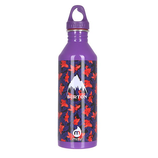 Бутылка для воды Mizu Burton M8 800ml Leaves Glossy Purple W White Print