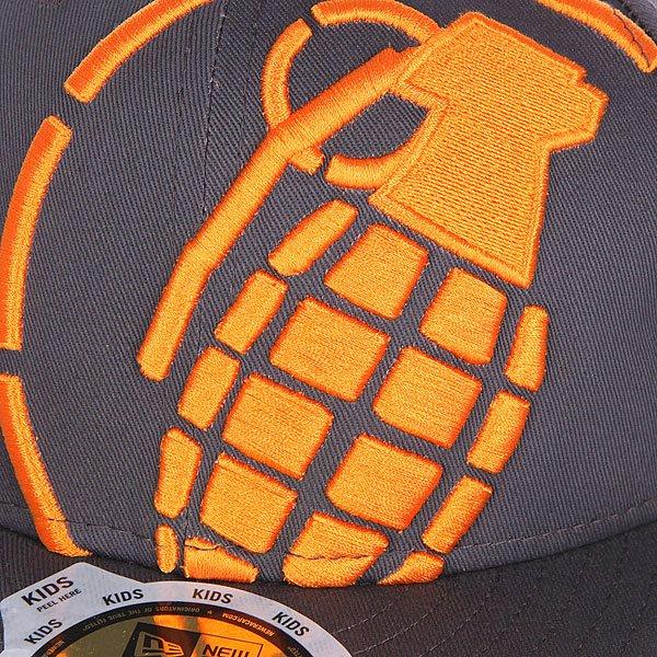 Бейсболка с прямым козырьком детская Grenade Big Crop Gray/Orange