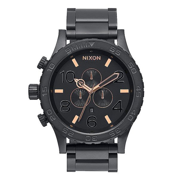 Часы Nixon Chrono All Black/Rose Gold