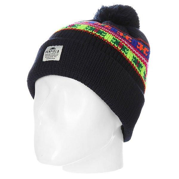 91556db5778 Купить шапку Penfield Acc Himal Neon Pattern Bobble Beanie Navy в  интернет-магазине Proskater.by