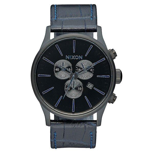 Кварцевые часы Nixon Sentry Chrono Leather Navy Gator