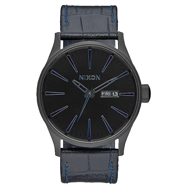 Кварцевые часы Nixon Sentry Leather Navy Gator