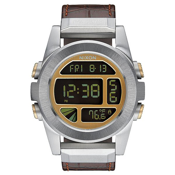 Электронные часы Nixon Unit Leather Brown Gator
