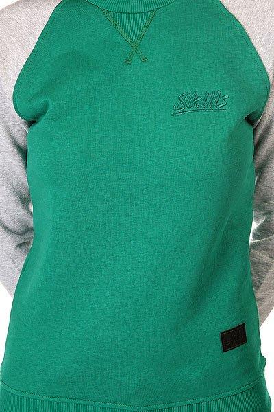 Толстовка свитшот женская Skills Script Logo 4v Crewneck Green/Grey Melange