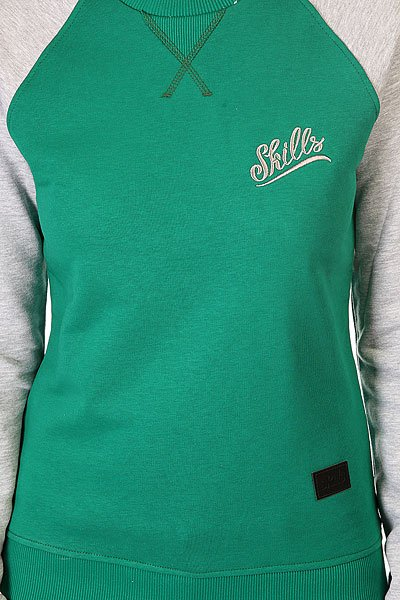 Толстовка свитшот женская Skills Script Logo 3v Crewneck Green/Grey Melange
