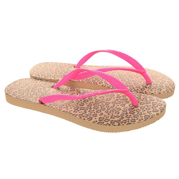 Вьетнамки женские Havaianas Slim Animals Beige/Pink