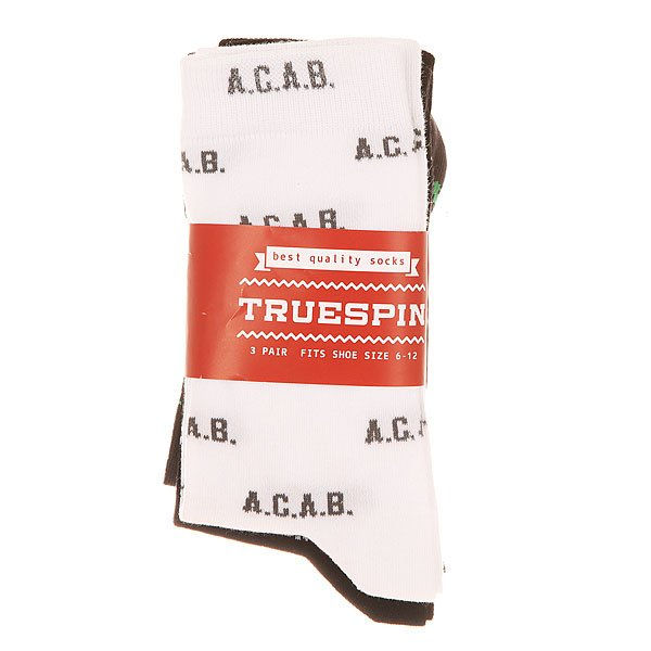 Носки средние TrueSpin A.c.a.b. Black/White/Grey