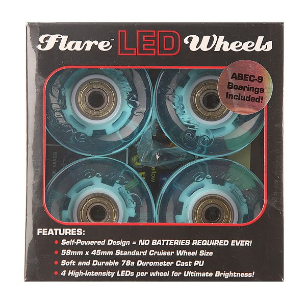 Колеса для лонгборда Sunset Cruiser Wheel With Abec9 Aqua 78A 59 mm