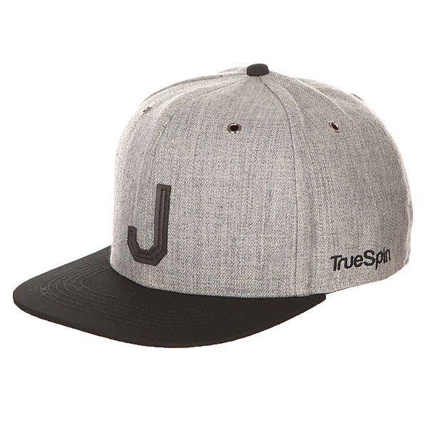 Бейсболка с прямым козырьком TrueSpin Abc Snapback Dark Grey/Black Leather-j