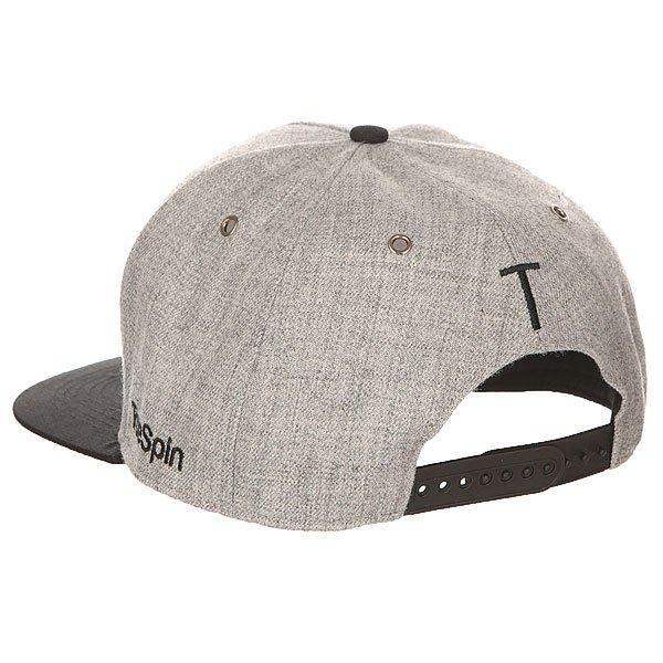 Бейсболка с прямым козырьком TrueSpin Abc Snapback Dark Grey/Black Leather-t